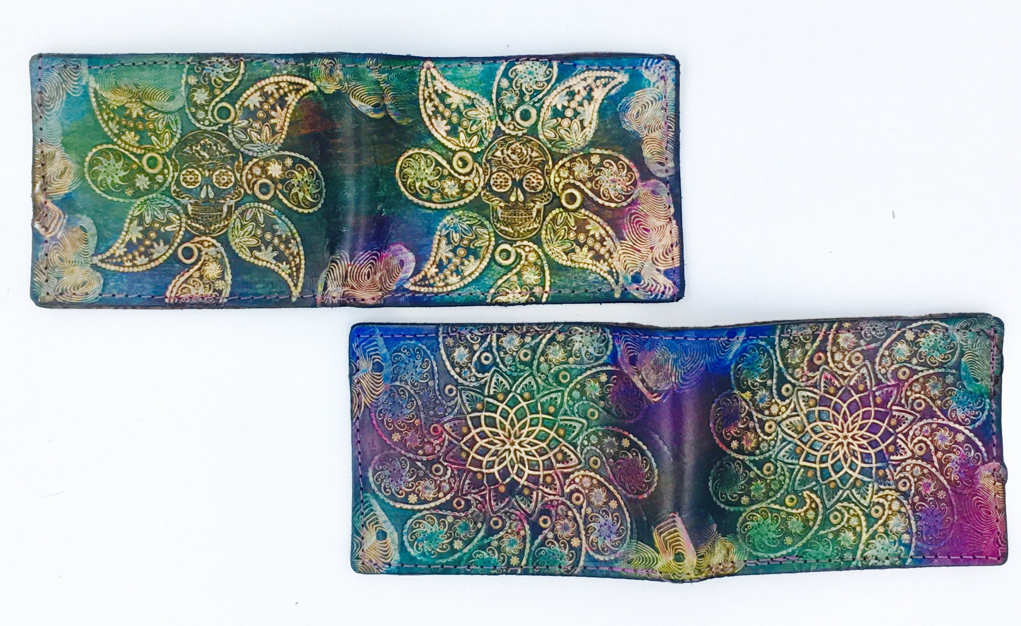 Stamped Leather Bifold Wallet- Paisley