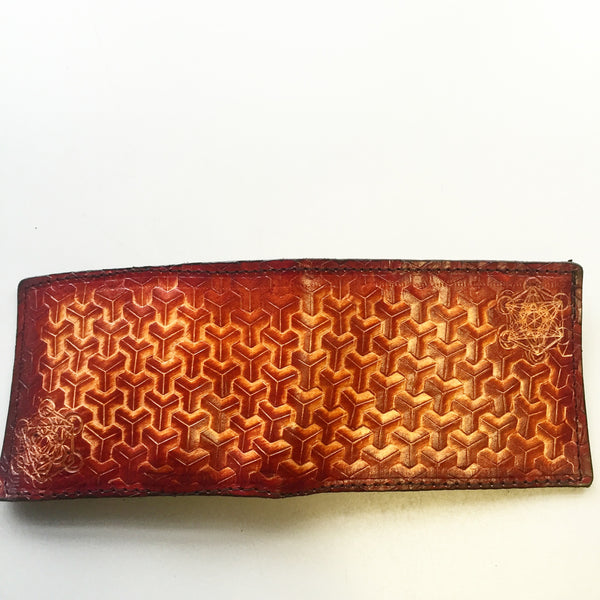 Stamped Leather Bifold Wallet- Geometry and Goyard