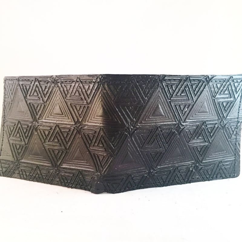 Stamped Leather Bifold Wallet-Impossible Triangle