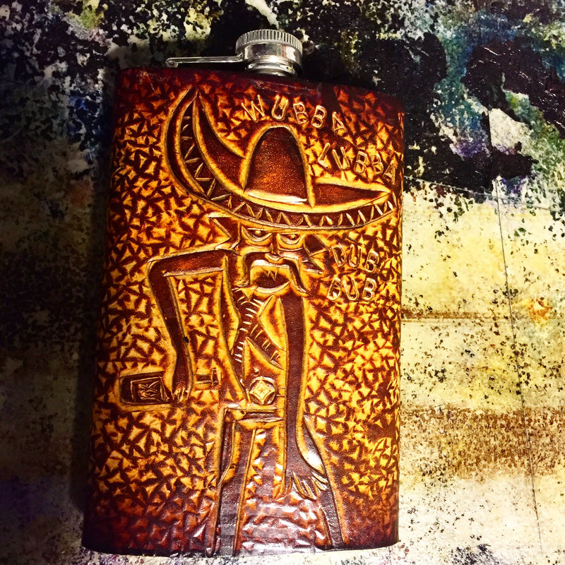 Carved Leather Flask-Miscellaneous Designs