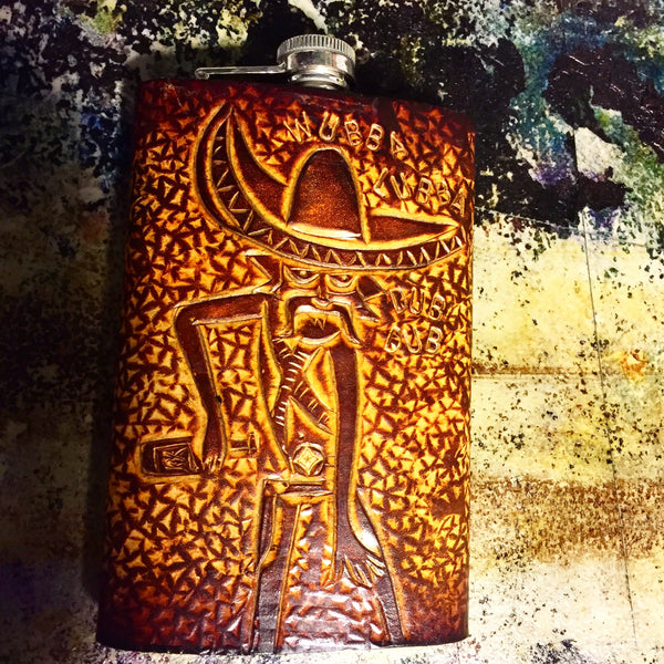 Carved Leather Flask- Miscellaneous Designs