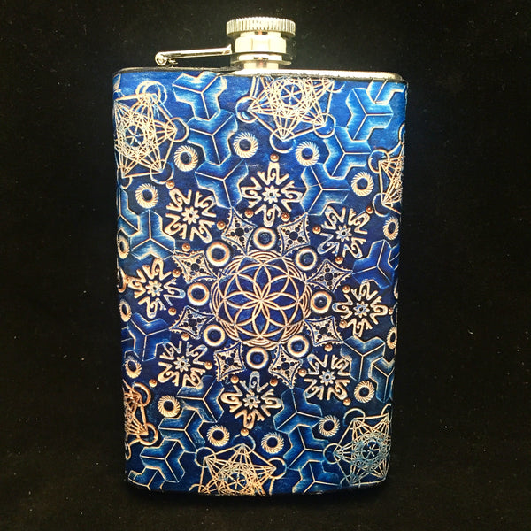 Stamped Leather 10 oz Flask-Expanding Geometry