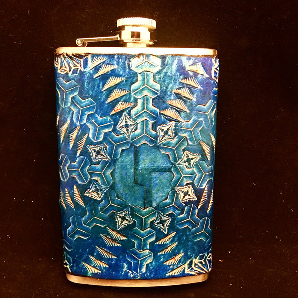 Stamped Leather 10 oz Flask-Disco Biscuits