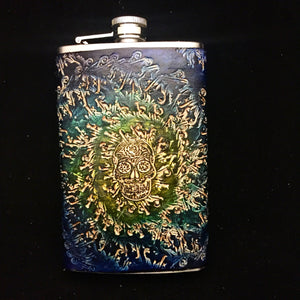 Stamped Leather Flask- Digital Energy