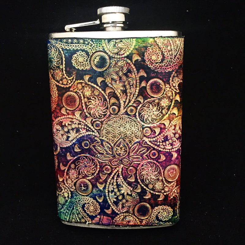 Stamped Leather 10 oz Flask-Paisley