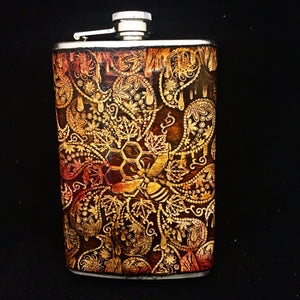 Stamped Leather Flask- Bees