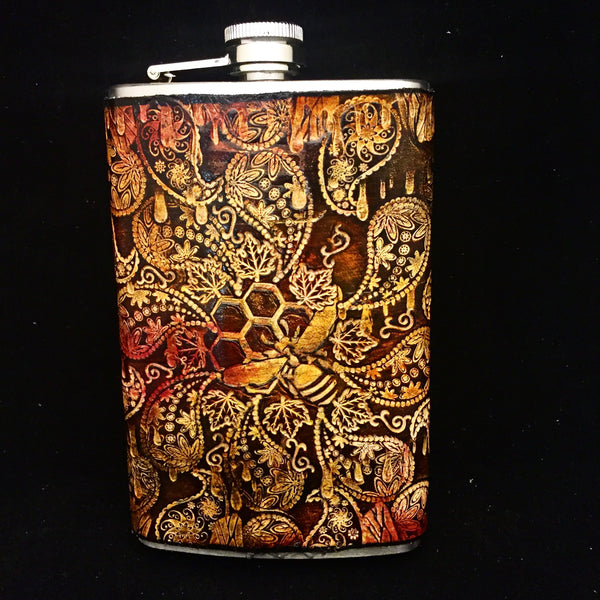 Stamped Leather 10 oz Flask-Bees