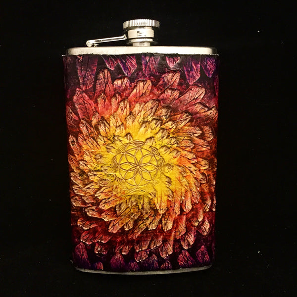 Stamped Leather 10 oz Flask-Crystal Energy with Geometry