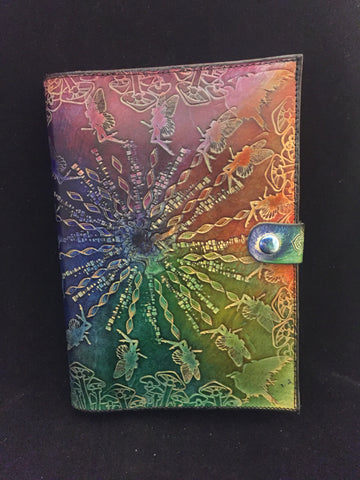 Stamped Leather Journal- Faeries and Mushrooms