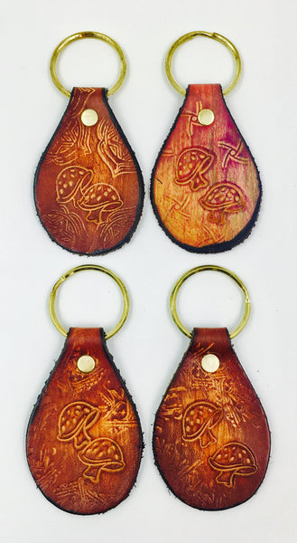 Stamped Leather Keychain-Mushrooms
