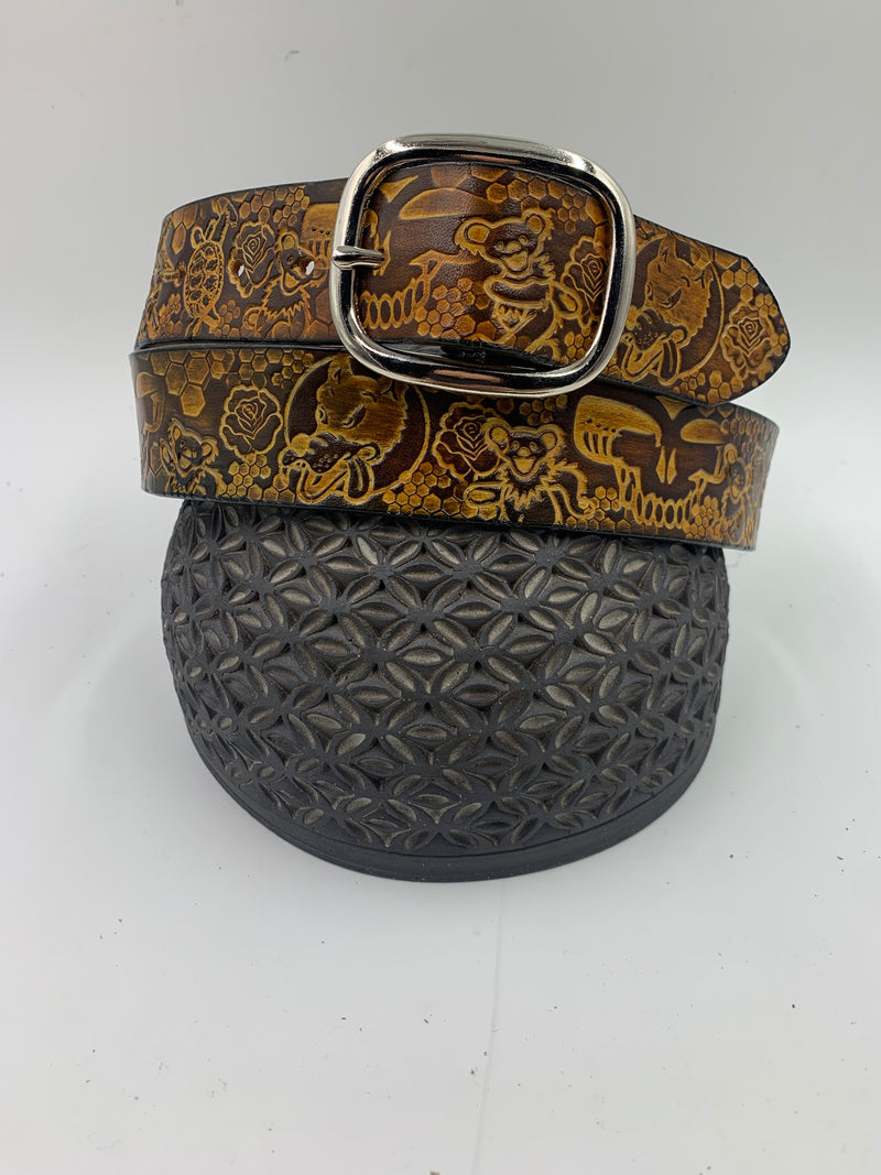 Stamped Leather Belt-Bears