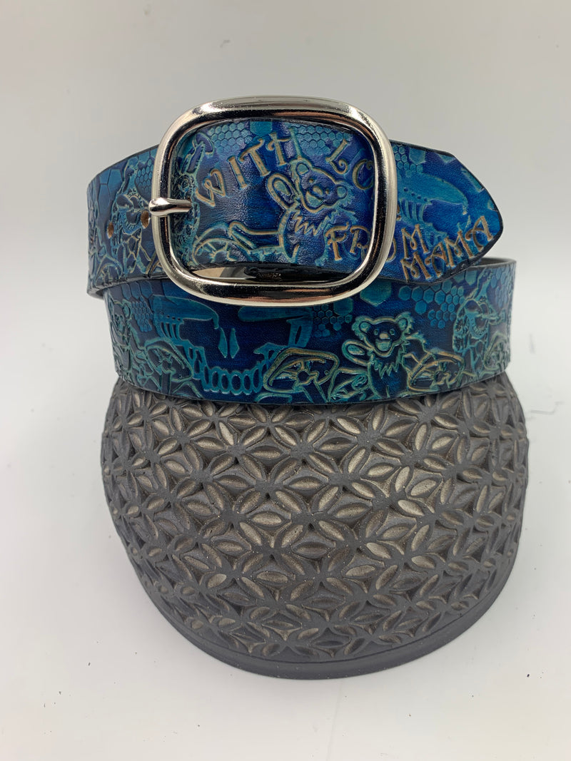Stamped Leather Belt-Grateful Wonders of Nature