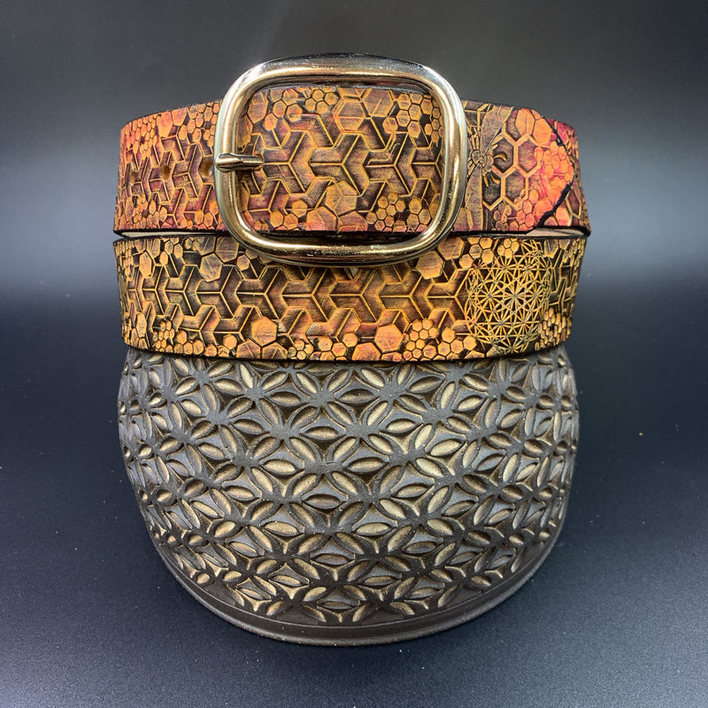 Stamped Leather Belt-Bees