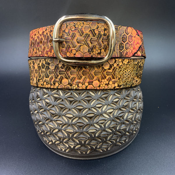 Stamp Leather Belt-Bees