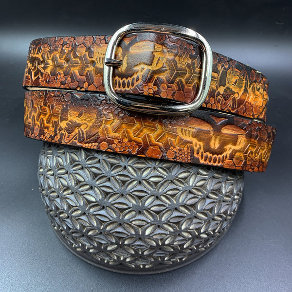 Leather Belt-Grateful Geometric