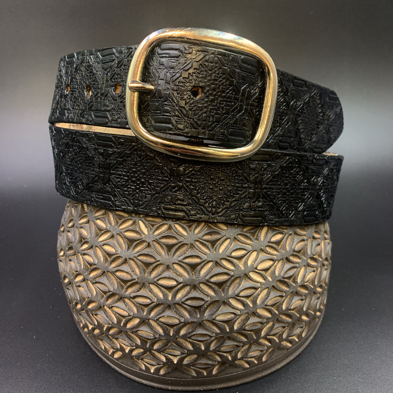 Stamped Leather Belt-Repeating Aztec Pattern