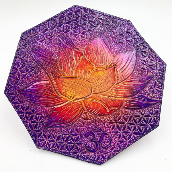 Carved Leather Dab Mat 7.5 Inch Octagon Coaster- Miscellaneous Designs