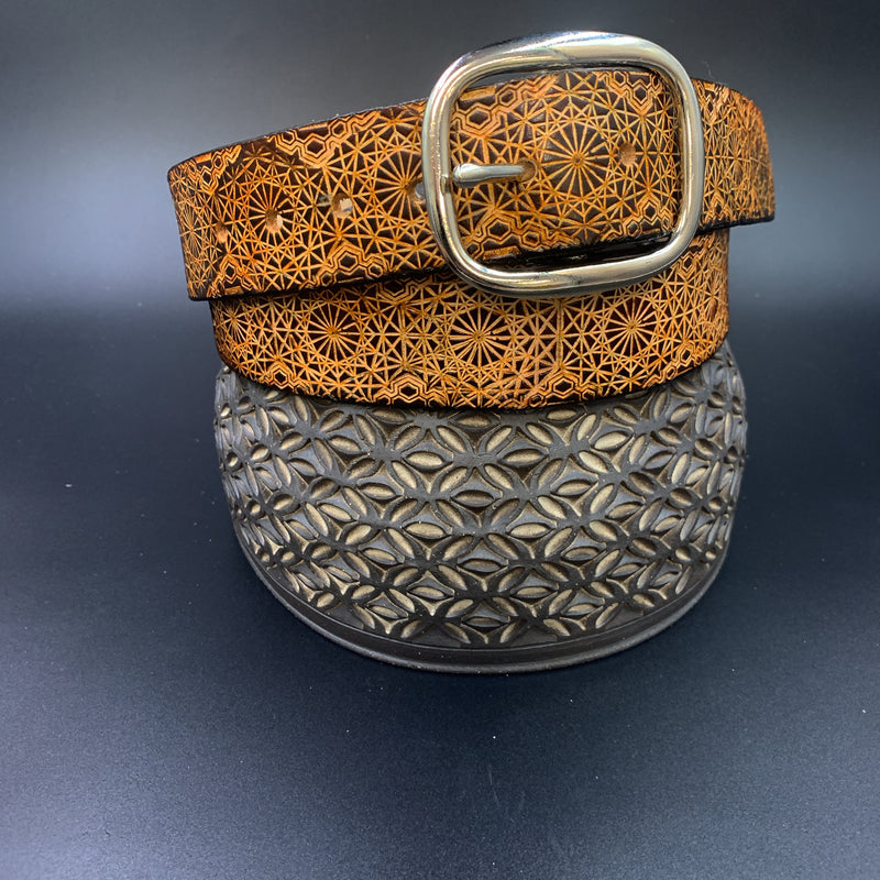 Stamped Leather Belt-Repeating Octagon Pattern