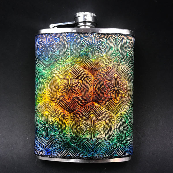 Stamped Leather 10 oz Flask-Collaborion: Mr Melty. Fractal Mandala