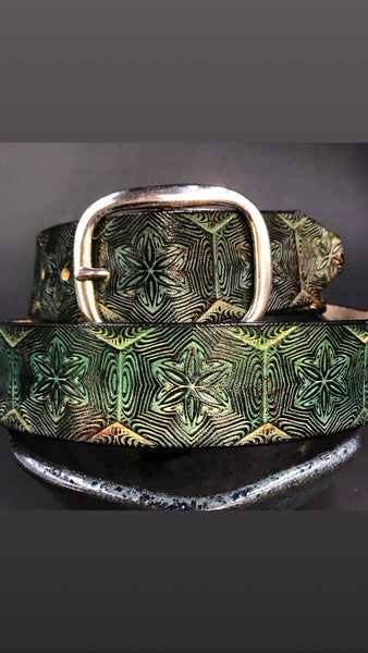 Stamped Leather Belt- Mr Melty Fractal Star