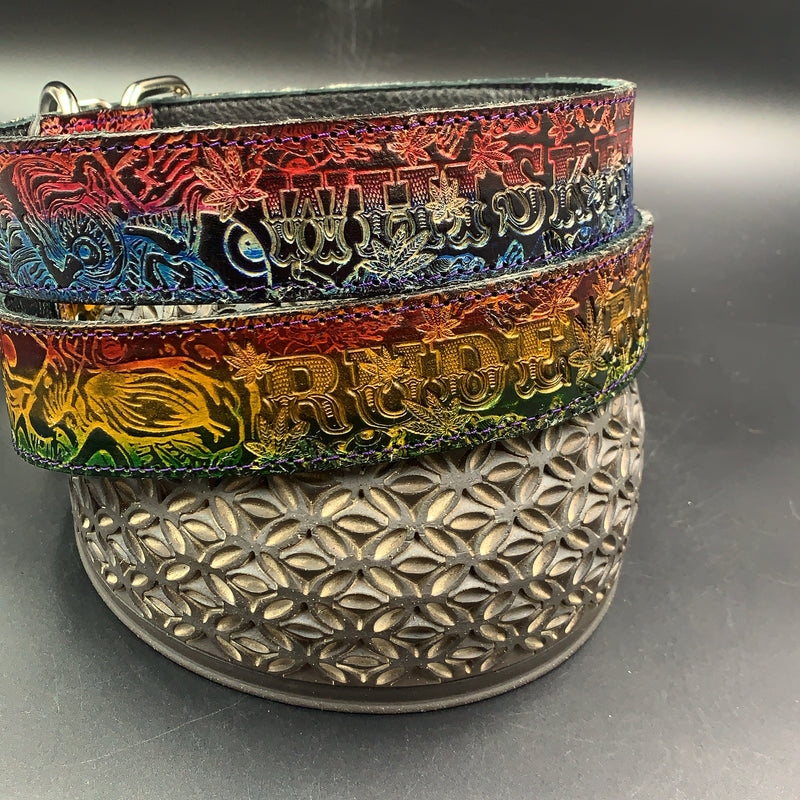 "Stamped Leather Dog Collar-Medium 1 1/2"" Collaboration: Aaron Brooks"
