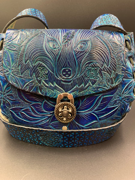 Carved Leather Purse Medium Round- Miscellaneous Designs