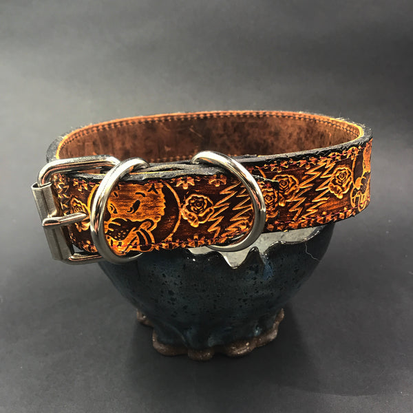 Stamped Leather Dog Collar- Small Dog 1 1/4
