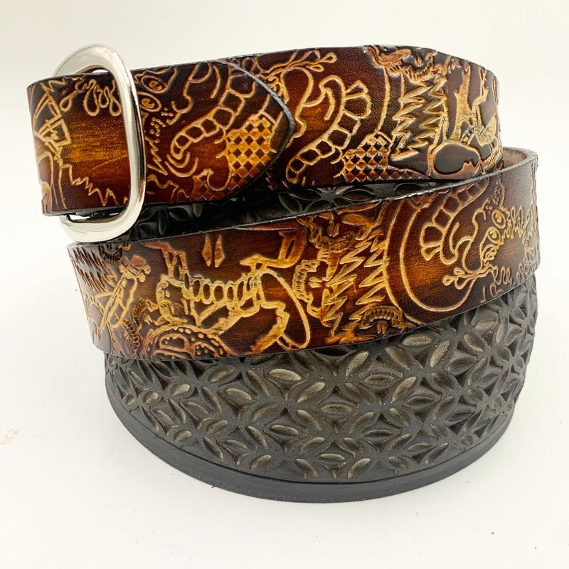 Stamped Leather Belt-Grateful Explosion