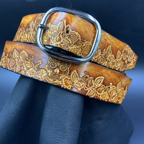 Stamped Leather Belt- Sugar skull