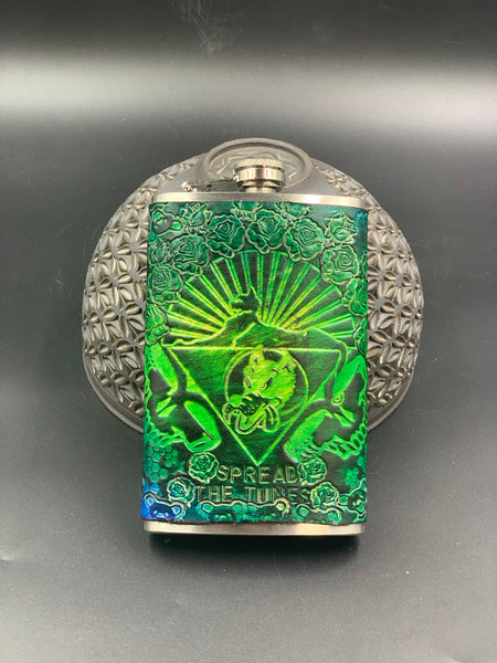 Stamped Leather Flask- Grateful
