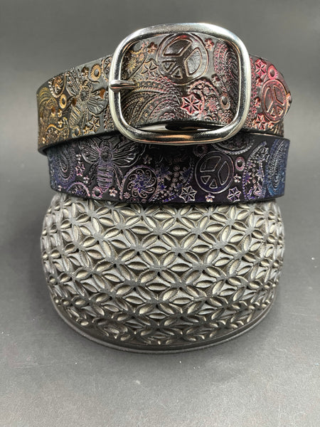 Stamped Leather Belt- Paisley