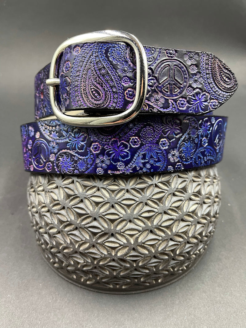 Stamped Leather Belt-Paisley