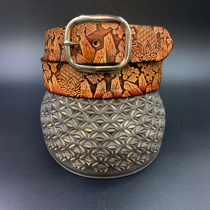 Stamped Leather Belt-Geometry and Crystals