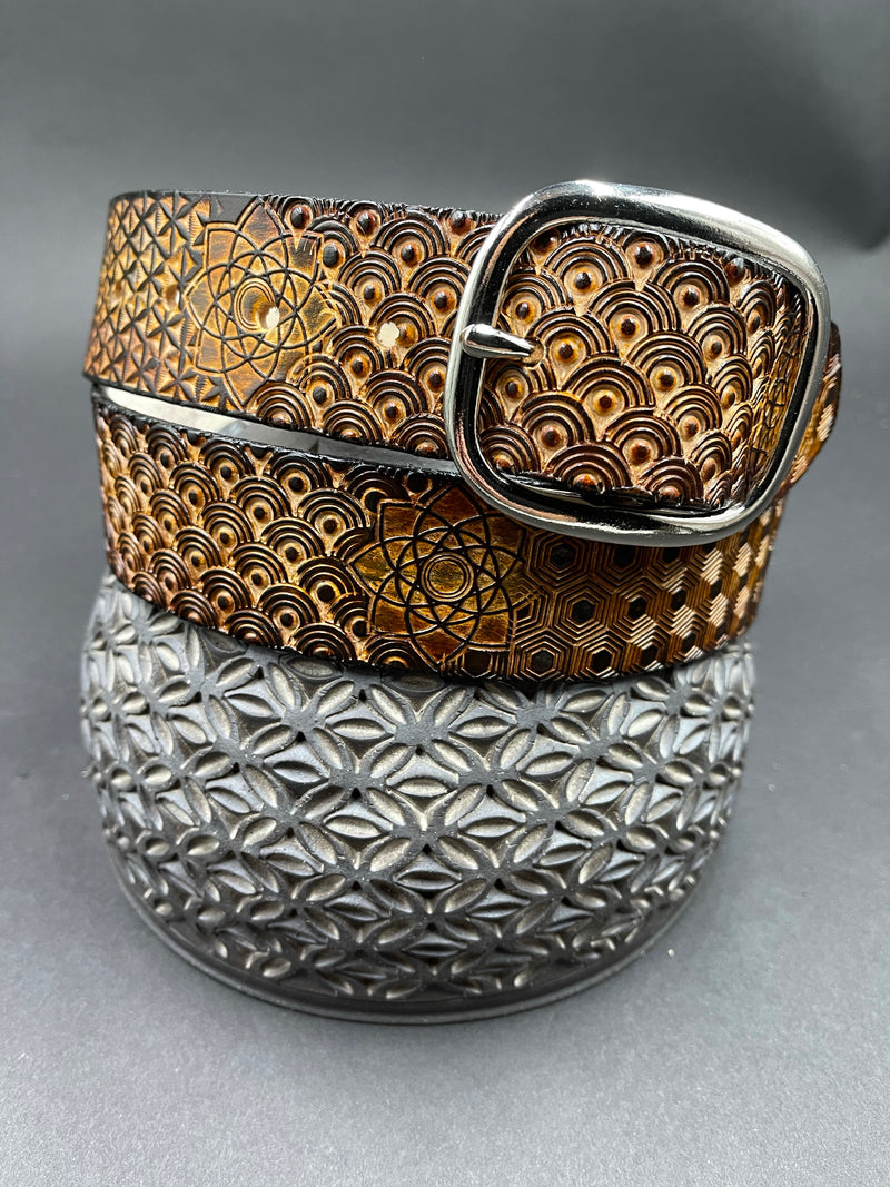 Stamped Leather Belt-Geometry with Geometric Patterns
