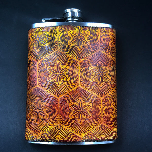 Stamped Leather Flask- Mr Melty Fractal Mandala