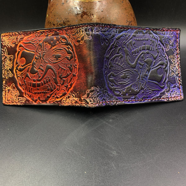 Stamped Leather Bifold Wallet- Collaborations: Aaron Brooks