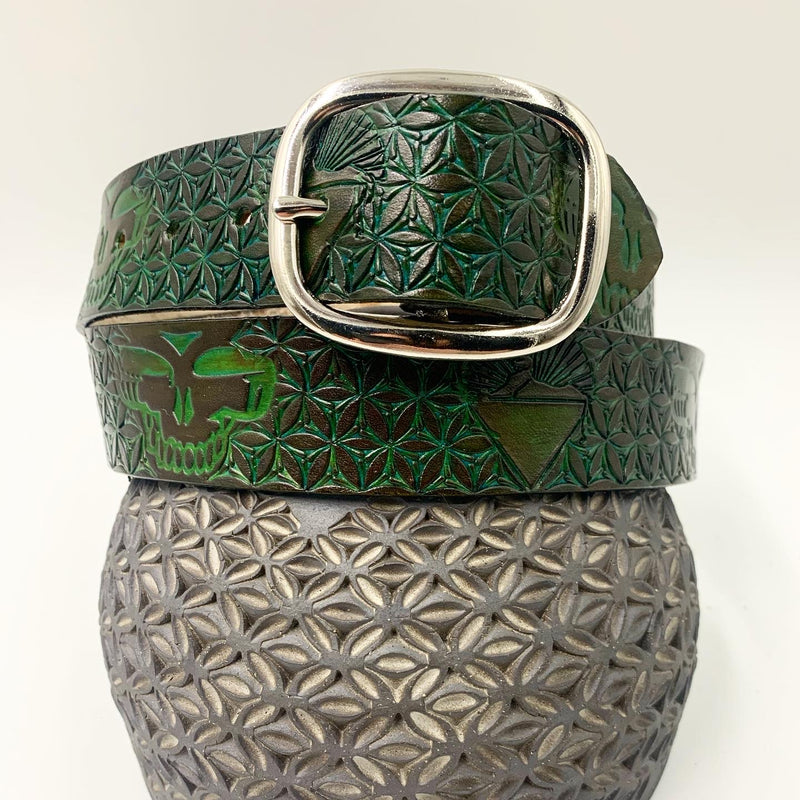 Stamped Leather Belt-Cats