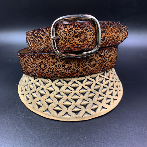 Stamped Leather Belt- Repeating Geometric Pattern 1