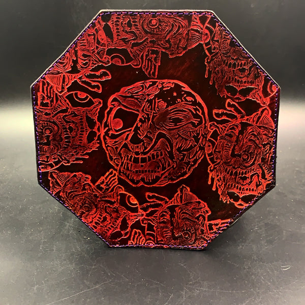 Stamped Leather Dab Mat 7.5 Inch Octagon Coaster-Collaboration: Aaron Brooks