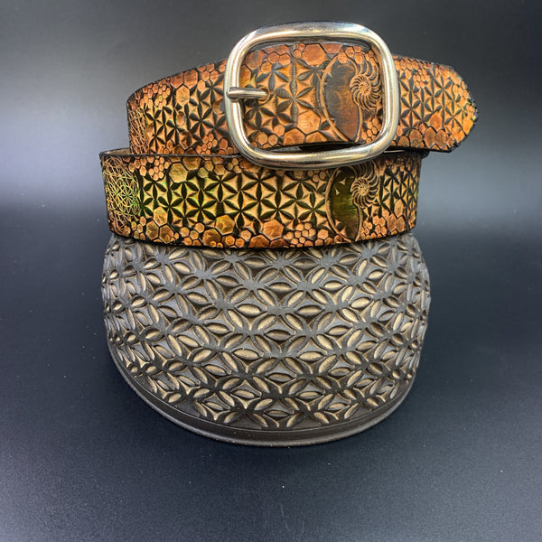 Stamped Leather Belt- Flower of Life and Geometry