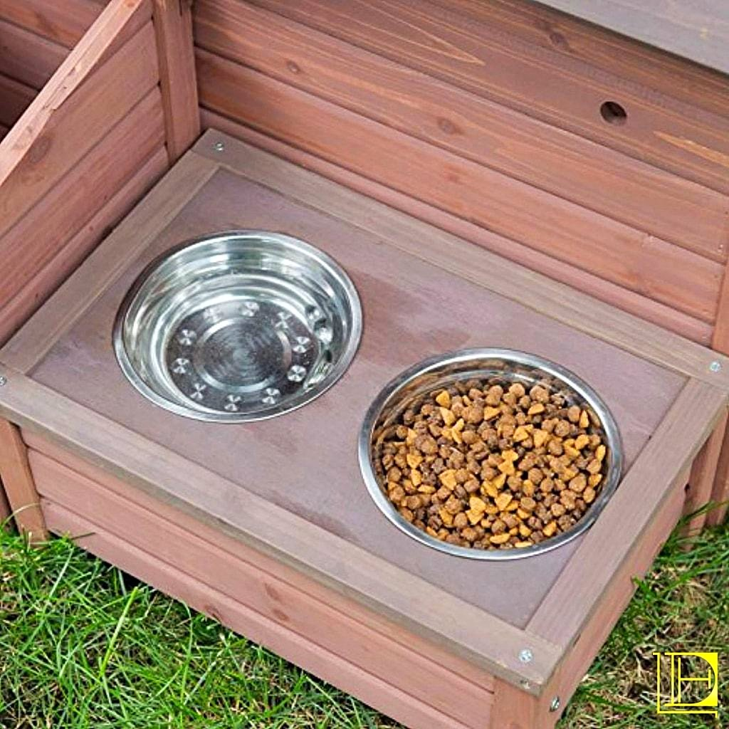 A-Frame Dog House With Food Bowl Tray & Storage Cubby