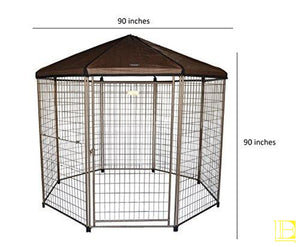Advantek Original Pet Gazebo Outdoor Dog Kennel With Reversible Cover 4 Ft (Small) / Aztek Gold