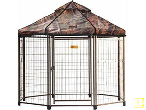 Advantek Original Pet Gazebo Outdoor Dog Kennel With Reversible Cover 4 Ft (Small) / Dark Forest