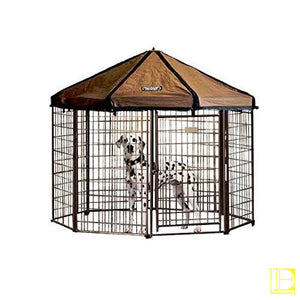 Advantek Original Pet Gazebo Outdoor Dog Kennel With Reversible Cover 4 Ft (Small) / White Brown