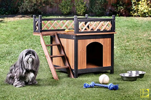 Brown & Black Weather-Resistant Outdoor Dog House