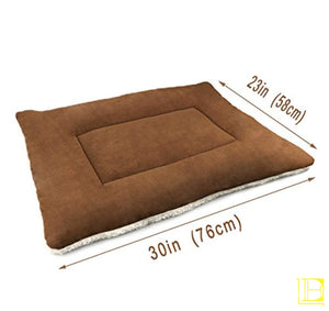 Brown Comfy Cotton-Filled Dog Kennel Mat (Small Med Large)
