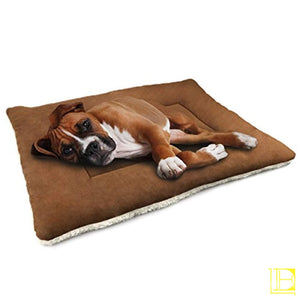 Brown Comfy Cotton-Filled Dog Kennel Mat (Small Med Large) Medium30 X 23