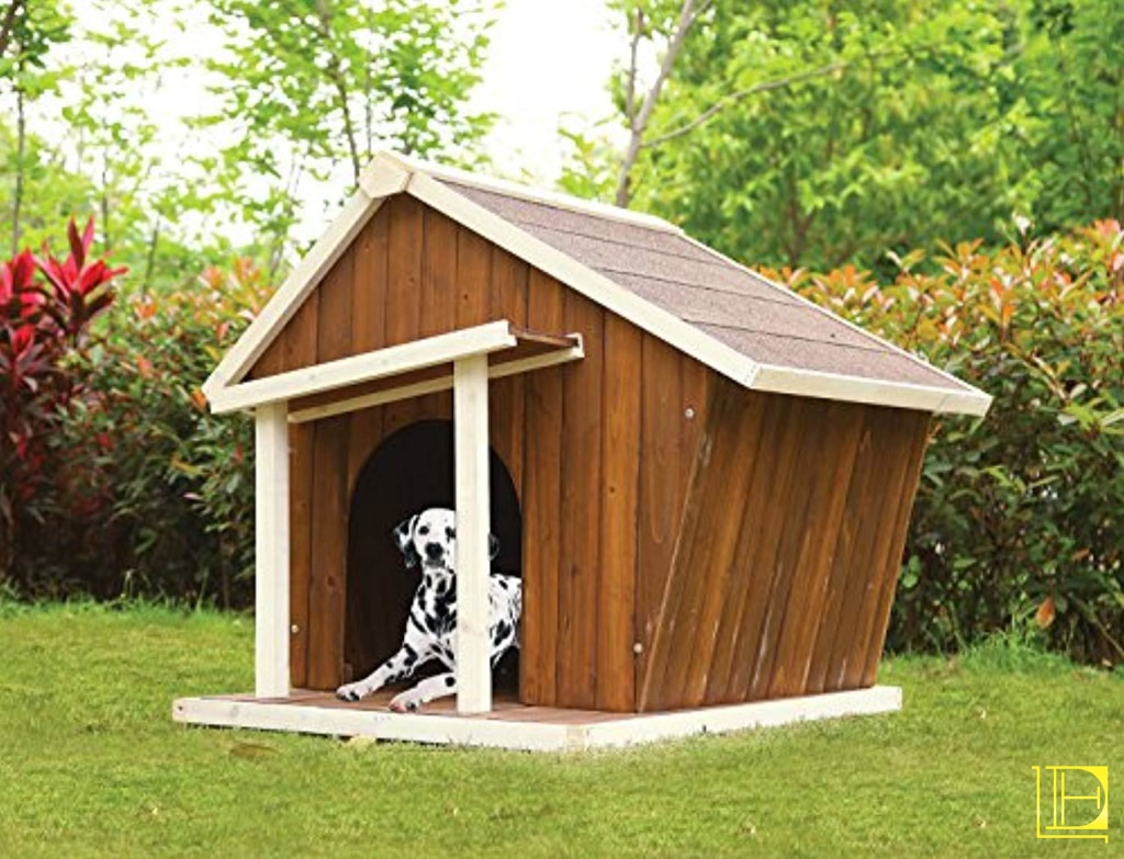 Cream & Oak Wooden Abstract Outdoor Dog House