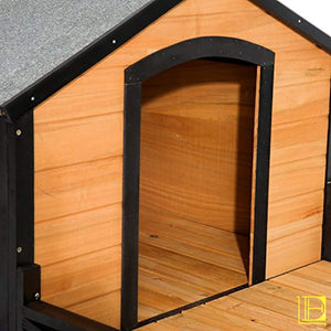 Elegantly Designed Wooden Cabin-Style Dog House With Porch