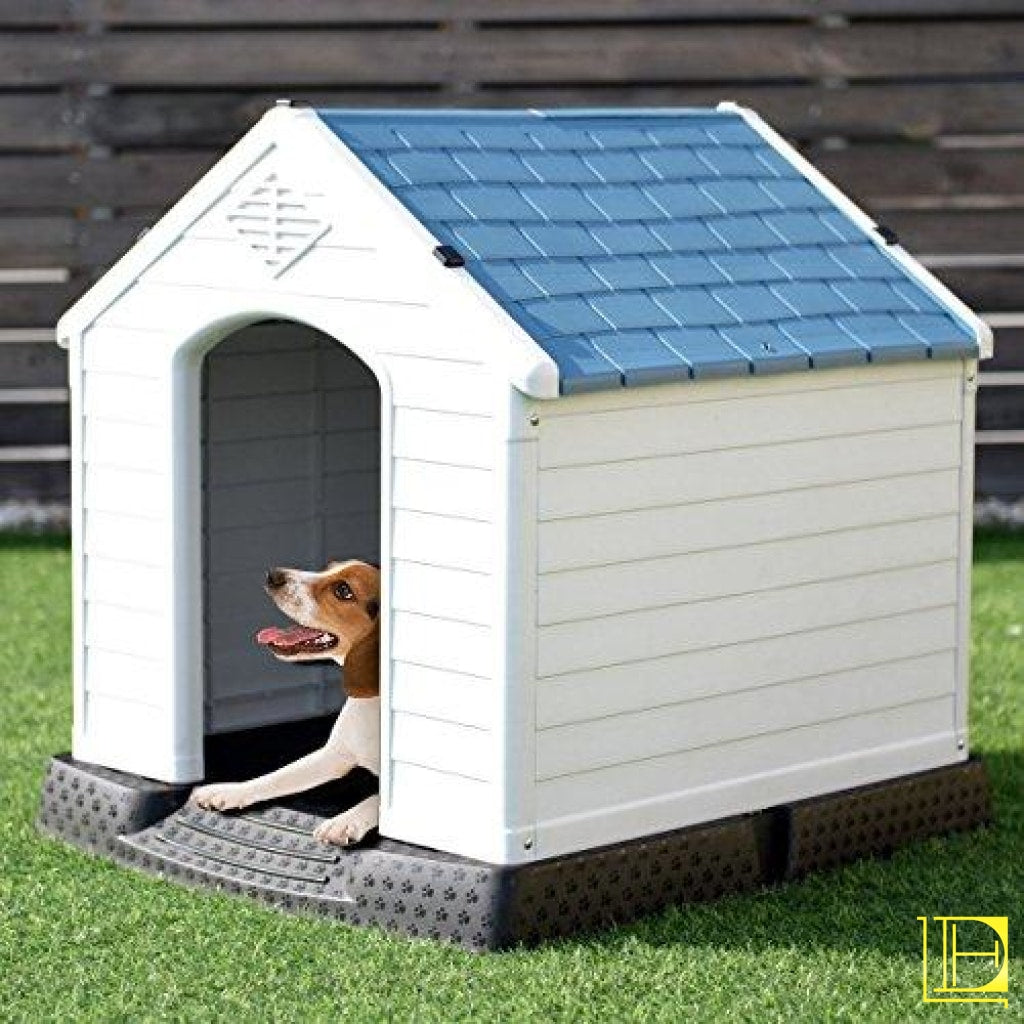 Giantex Pet Dog House Plastic Waterproof Ventilate Puppy Shelter For Indoor Outdoor Use With Roof
